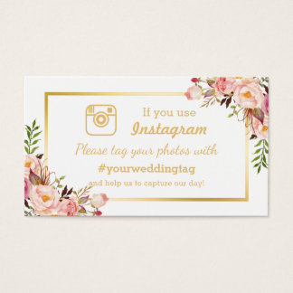 Chic Floral Instagram Hashtag Wedding Insert Card