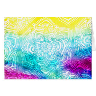 Chic floral lace henna mandala bright watercolor stationery note card