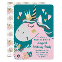 Chic Floral Magical Unicorn Girl's Birthday Party Invitation