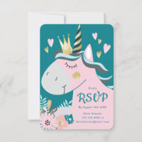 Chic Floral Magical Unicorn Girl's Birthday Party RSVP Card