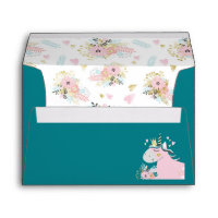 Chic Floral Magical Unicorn Head Teal Girly 5x7 Envelope