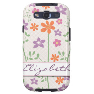 Chic Floral Pattern Design Monogram Galaxy S3 Covers