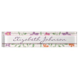 Chic Floral Pattern Design Monogram Desk Name Plate