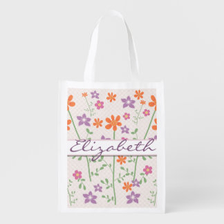 Chic Floral Pattern Design Monogram Grocery Bag