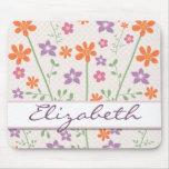 Chic Floral Pattern Design Monogram Mousepad