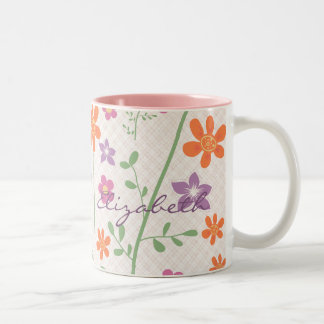 Chic Floral Pattern Design Monogram Two-Tone Coffee Mug