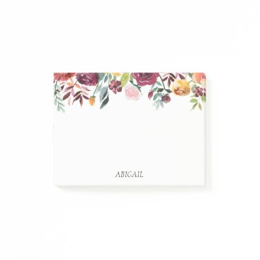 Beach Themed Chic Floral Personalized Post-it Notes