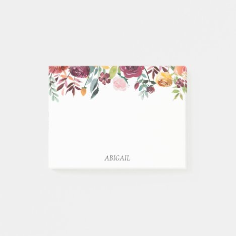 Chic Floral Personalized Post-it Notes