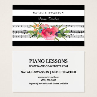 Chic Floral Piano Teacher Modern Musical Notes Business Card