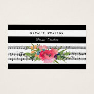Chic Floral Piano Teacher Modern Musical Notes Business Card at Zazzle