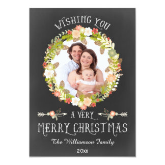 Chic Floral Pine Cones Wreath Holiday Photo Card