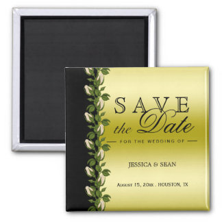 Chic Floral Romantic Gold & Black Save The Date Magnet