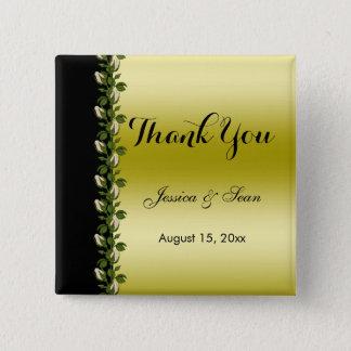 Chic Floral Romantic Gold & Black Thank You Pinback Button