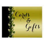 Chic Floral Romantic Gold & Black Wedding Poster