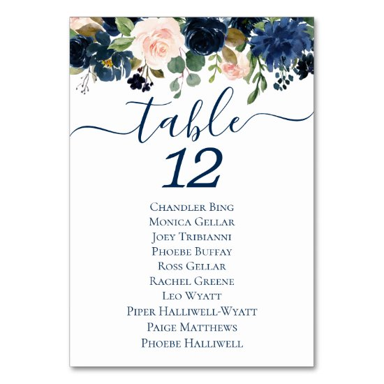 Chic Floral | Romantic Navy Blush Guest Names Table Number