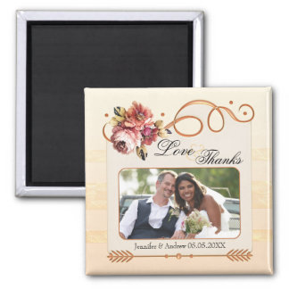 Chic Floral Rose Gold Ivory Wedding Photo Magnet