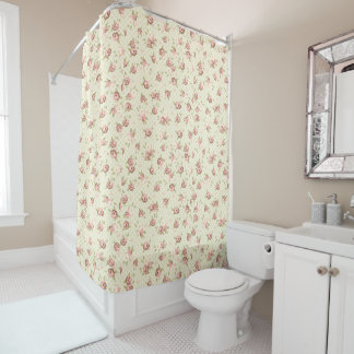 Chic Floral Rosebud Pattern Shower Curtain