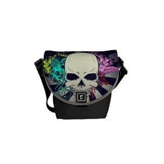 Chic Floral Skull Courier Bag