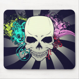 Chic Floral Skull Mouse Pad