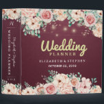 """Chic Floral String Lights Burgundy Wedding Planner Binder<br><div class=""""desc"""">Vintage Watercolor Botanical Floral Wedding Planner Binder Templates - Elegant Script,  Watercolor Roses Floral and String Lights on Burgundy Red Background. A Perfect Design For Your Big Day! All Text Style,  Colors,  Sizes Can Be Modified To Fit Your Needs.</div>"""
