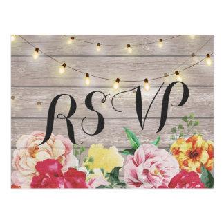 Chic Floral String Lights Rustic Wood Wedding RSVP Postcard
