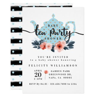 Chic Floral Tea Party Boy Baby Shower Invitation
