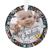 Chic Floral Vibrant Botanical Snowflake Baby Photo Ornament