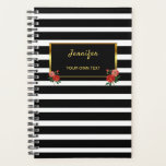 "Chic floral Vintage roses black white stripes gold Planner<br><div class=""desc"">Chic Vintage roses on black and white stripes pattern with gold and black frame planner.