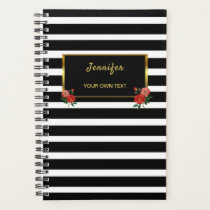 Chic floral Vintage roses black white stripes gold Planner
