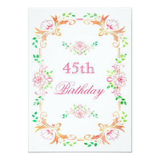 """Chic Floral Watercolor 45th Birthday Double Sided 5"""" X 7"""" Invitation Card"""