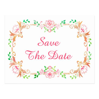 Chic Floral Watercolor 80th Birthday Save The Date Postcard