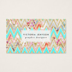 Chic Floral Watercolor Gold Chevron Pastel Teal Business Card at Zazzle
