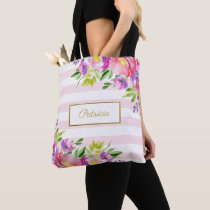 Chic Floral Watercolor Pink and White Stripes Tote Bag