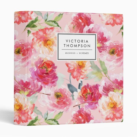 Chic Floral Watercolor Pink Peonies Pattern 3 Ring Binder