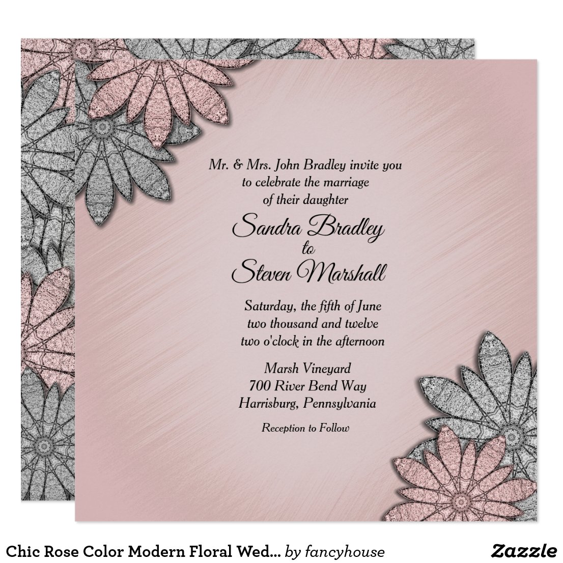 Chic Floral Wedding Invitation