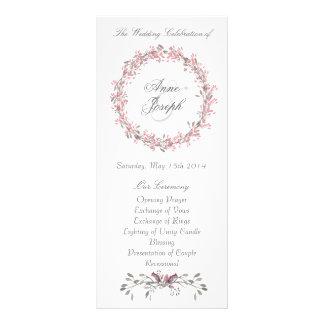Chic floral wedding program rack card template