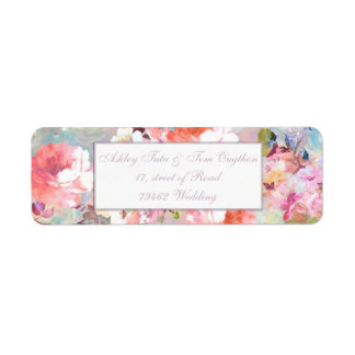 Chic Floral Wedding Romantic Pink Teal Watercolor Return Address Label