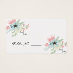 Chic Floral Wedding Table Number Business Card at Zazzle