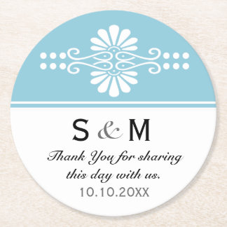 Chic Floral Wedding Thank You Monogram:Blue White Round Paper Coaster