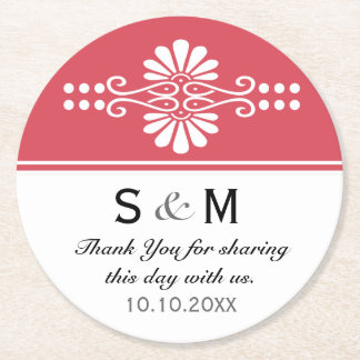 Chic Floral Wedding Thank You Monogram:Red White Round Paper Coaster