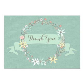 Chic Floral Wreath and Banner Thank You Card
