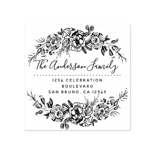 Chic Floral Wreath  Custom Script Return Address Rubber Stamp
