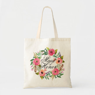 Chic Floral Wreath Maid of Honor-3 Tote Bag