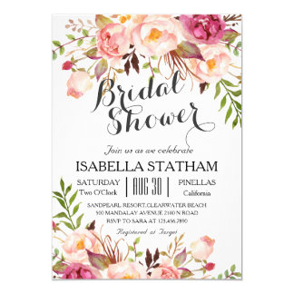 Chic Floral Wreath Rustic Bridal Shower2 Card