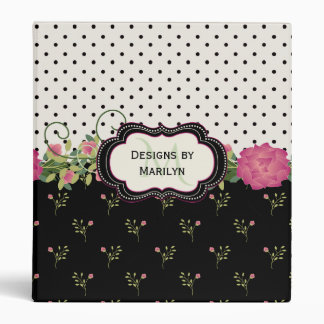 Chic Flowers and Polka Dots Custom Binder