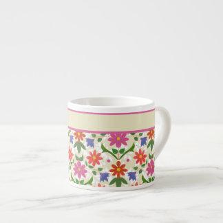 Chic Flowers, Polka Dots on Ecru Espresso Mug 6 Oz Ceramic Espresso Cup