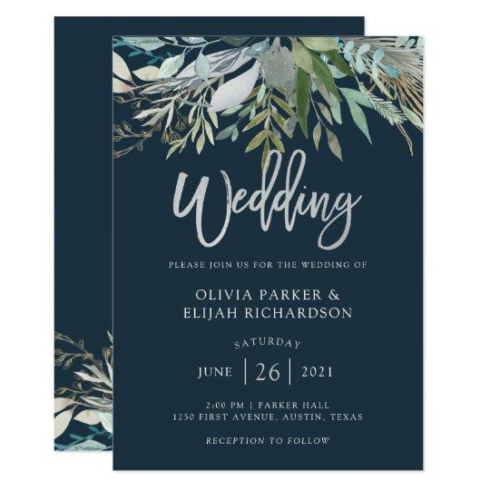 Dark Blue Wedding Invitations: Dark Blue Wedding Invitation