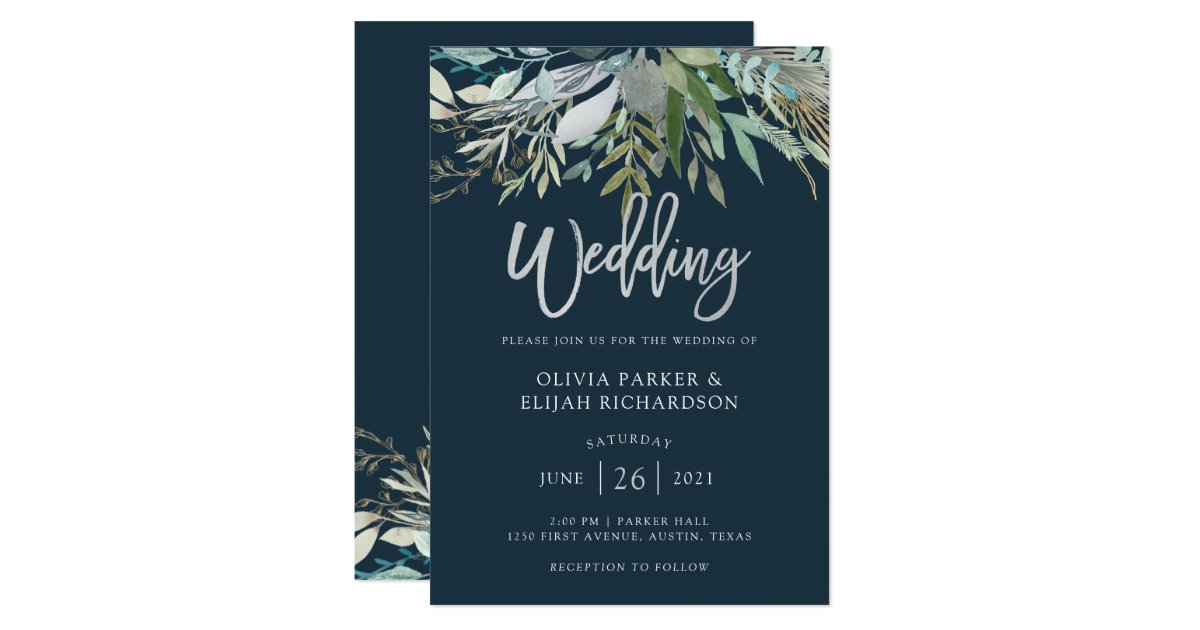 Dark Blue Wedding Invitations: Dark Blue Wedding Invitation