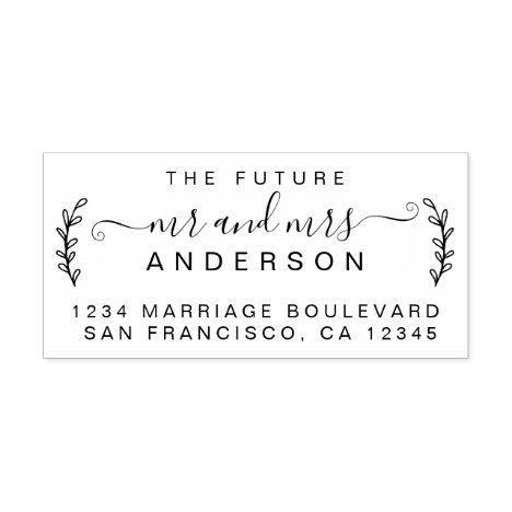 Chic Foliage Future Mr Mrs Wedding Return Address Rubber Stamp