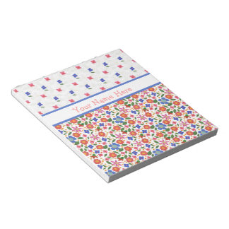 Chic Folk Art Florals on White Notepad or Jotter